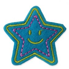 LIGHT BLUE SMILEY STAR MOTIF IRON ON EMBROIDERED PATCH APPLIQUE